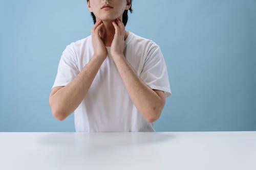 Man in White Crew Neck T-shirt