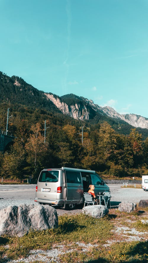 A Van Parked Near the Mountain