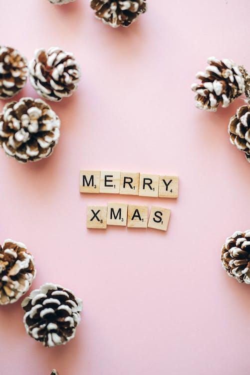 Merry Xmas Text On Wooden Scrabble Tiles