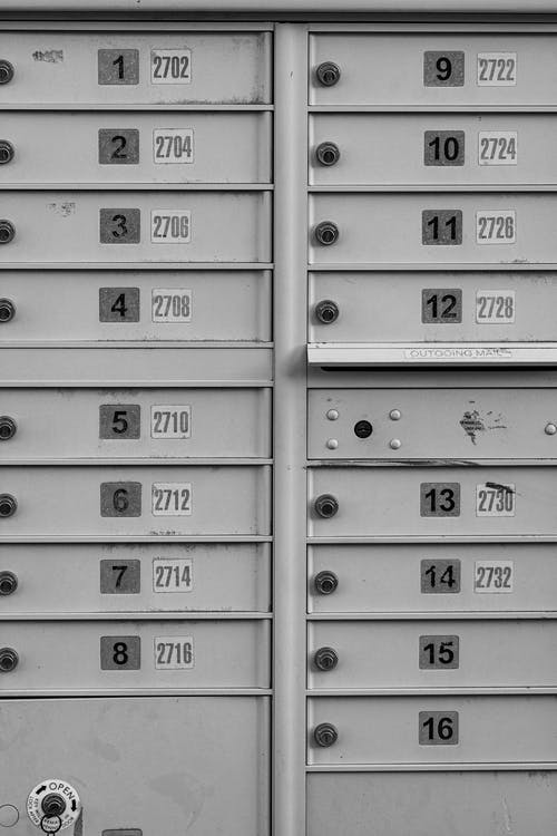 Gray Steel Locker With Number Print