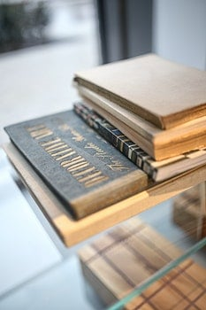 Old book with gold font