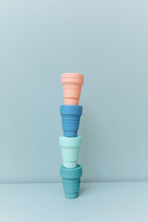 A Stack of Colored Plastic Cups