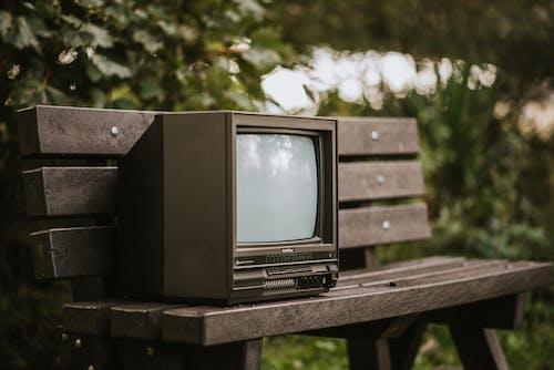 Kahverengi Ahşap Masada Siyah Crt Tv