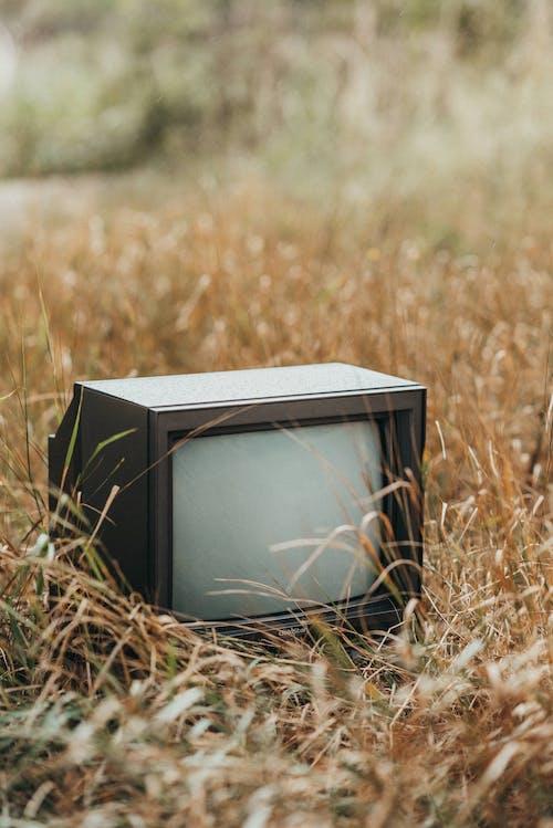 Schwarzer Crt Fernseher Auf Braunem Grasfeld