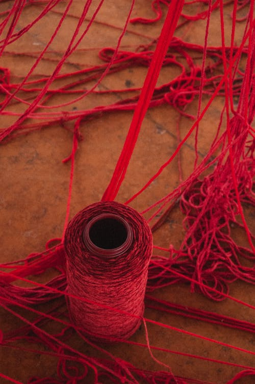 Skein of thread at weaving workshop