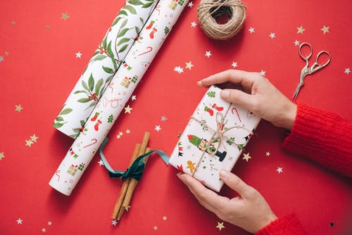 White Green and Red Floral Gift Wrapper