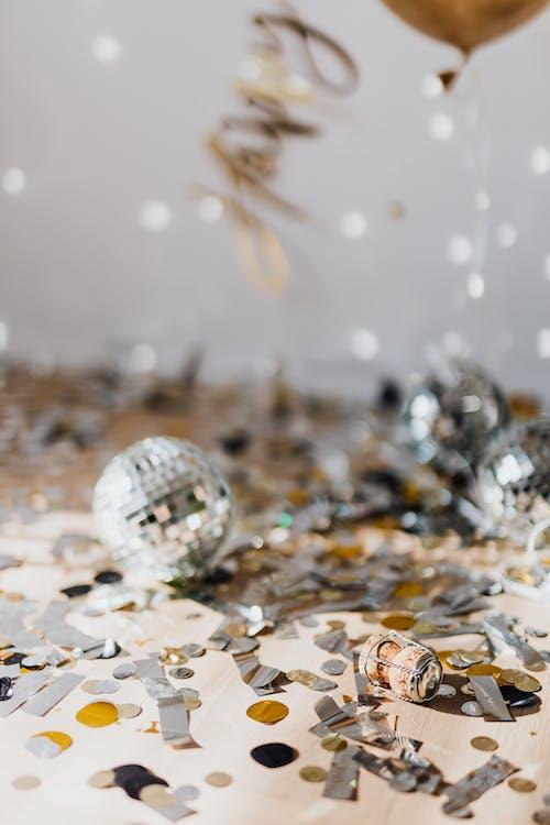Mirror Balls And Silver Confetti