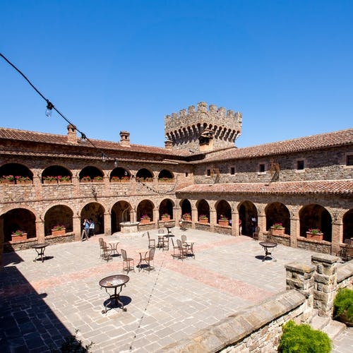 Free stock photo of blue sky, bricks, Castello di Amorosa