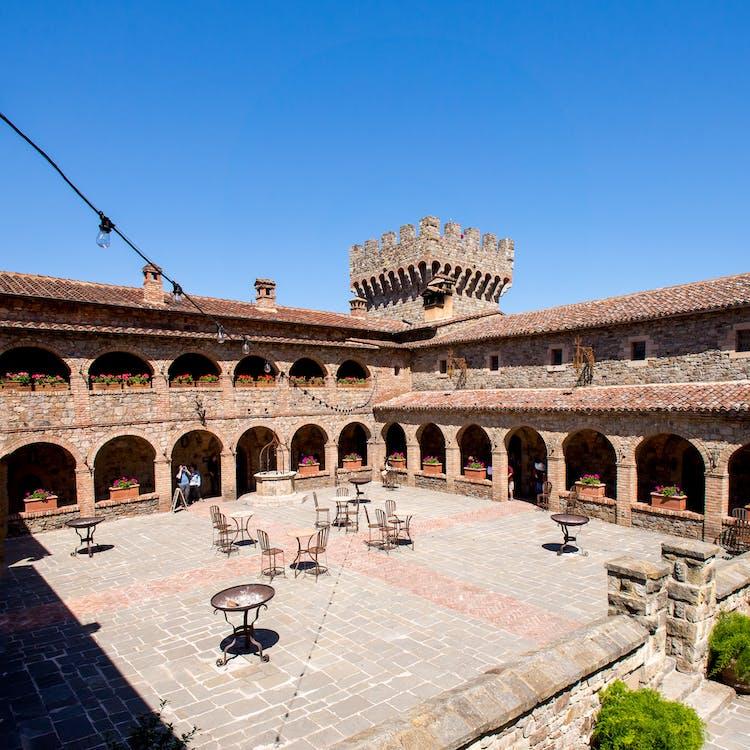 blue sky, bricks, Castello di Amorosa