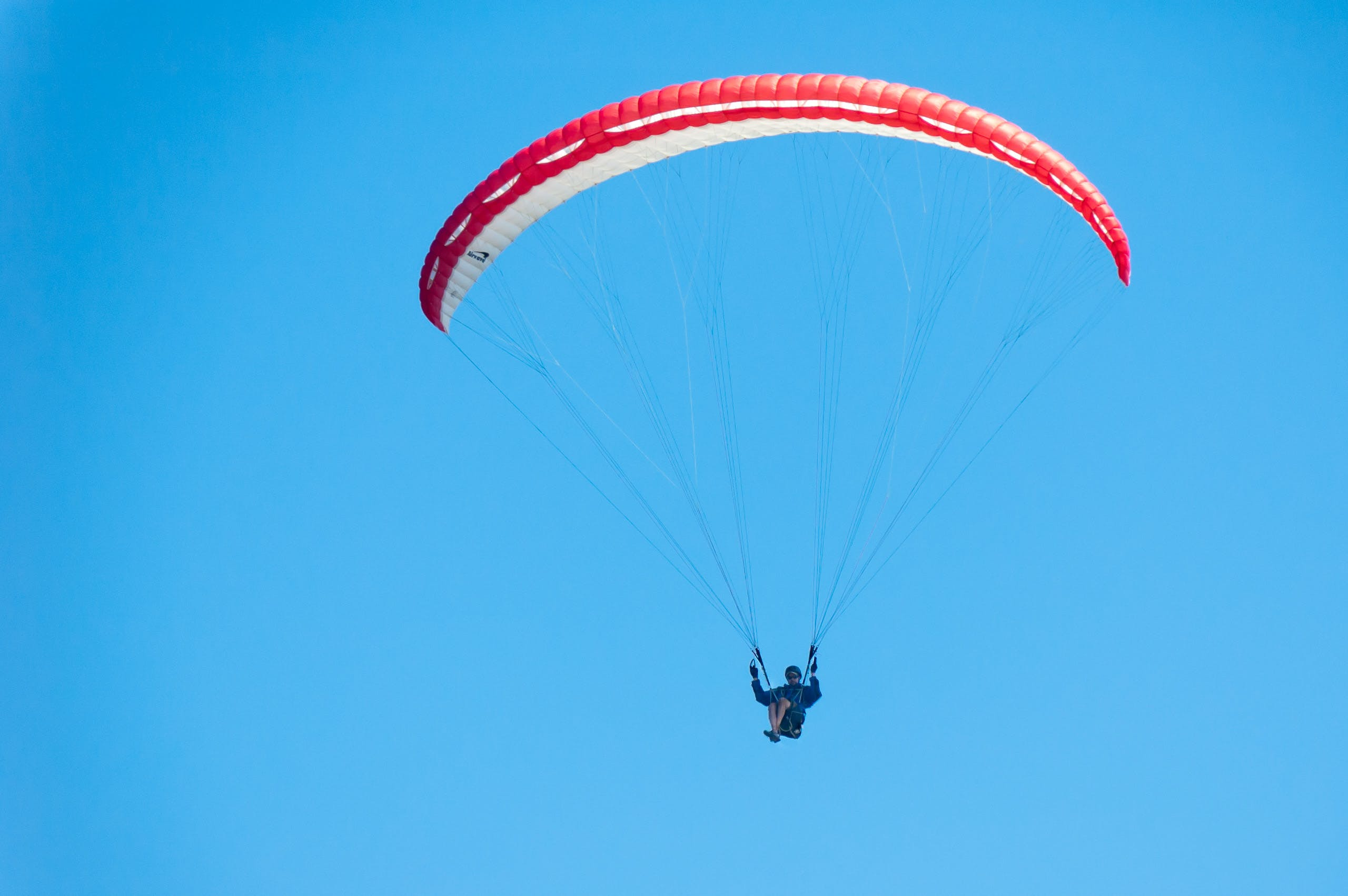 Free stock photo of blue sky, no clouds, paraglider, person