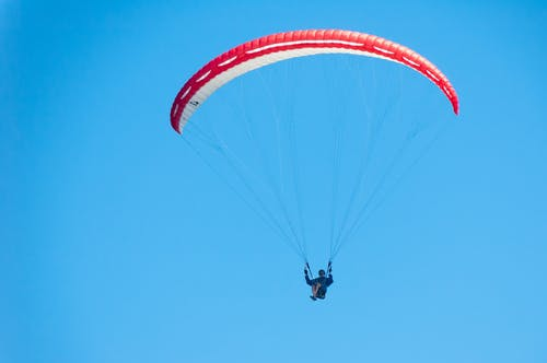 Free stock photo of blue sky, no clouds, paraglider