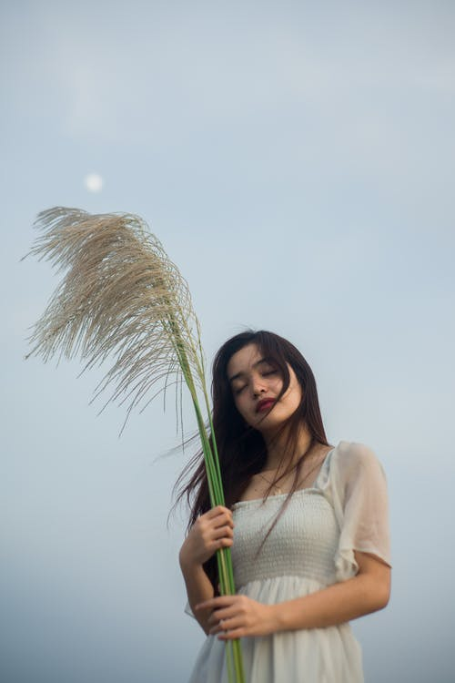 Asian woman with dried plant under light sky