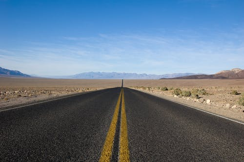Free stock photo of asphalt, blue, blue sky, death valley