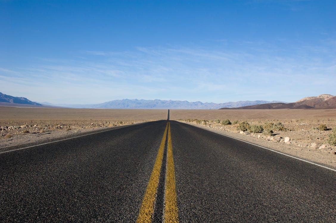 asphalt, blue, blue sky