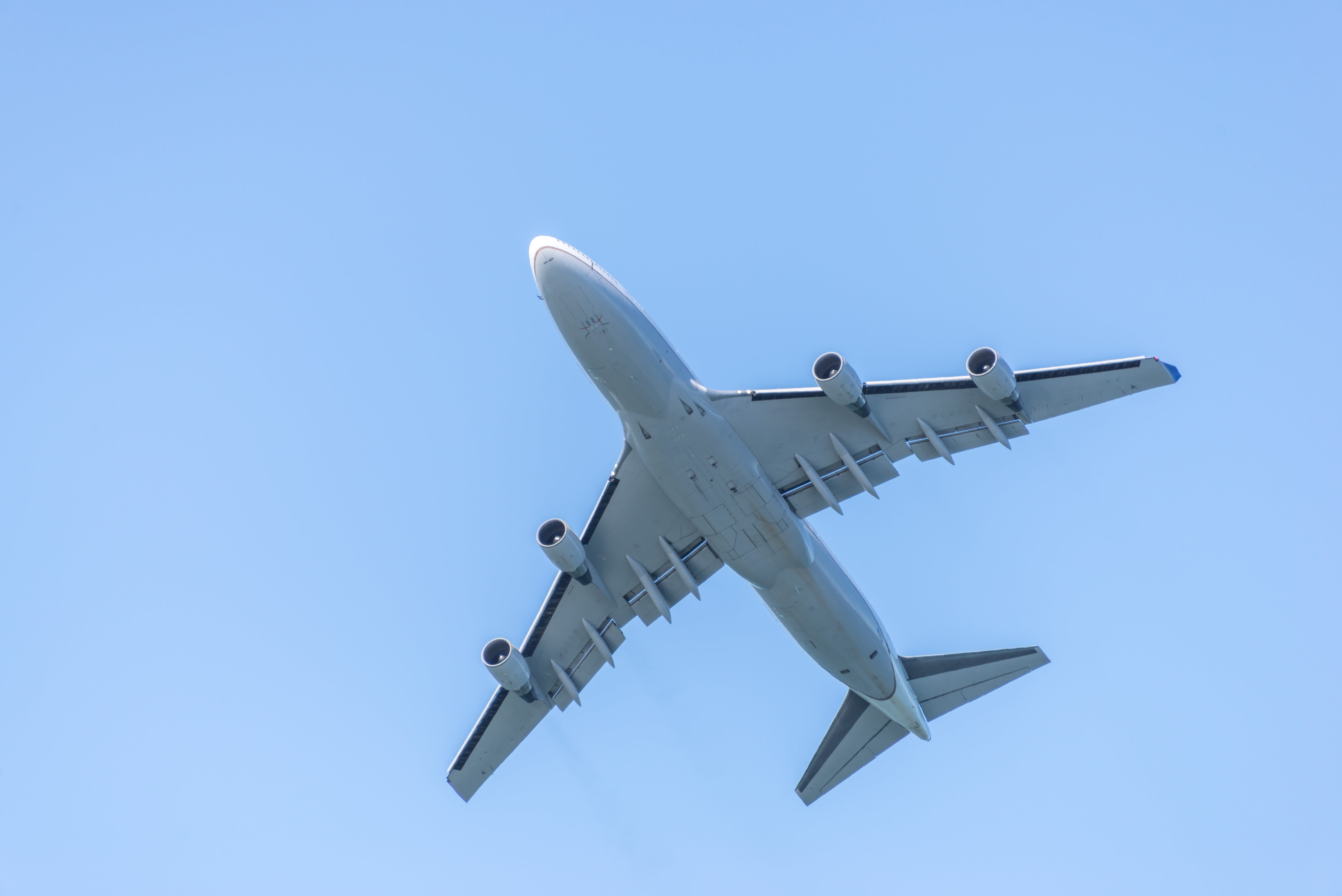 Free stock photo of airline, airplane, airplane flying, big airliner from below