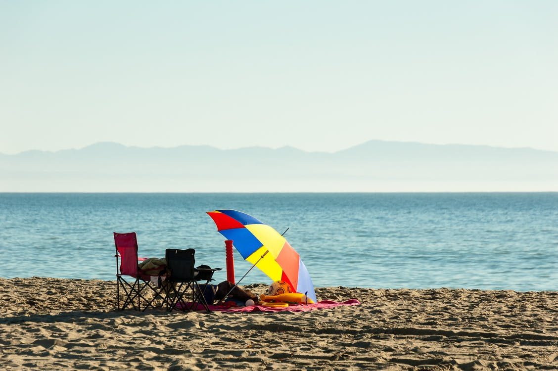 beach, beach chair, colorful umbrella