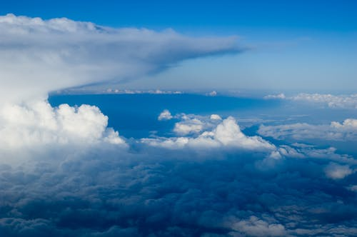 Free stock photo of blue sky, clouds, clouds from airplane, high clouds