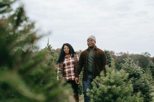 Positive black mother and son walking between trees