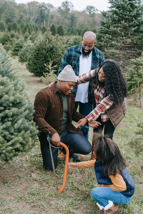 Black positive family preparing for sawing Christmas tree
