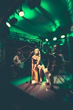 Free stock photo of woman, music, green, jam