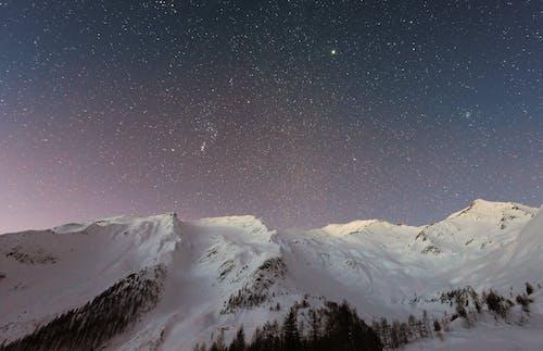 星空下的白雪覆盖