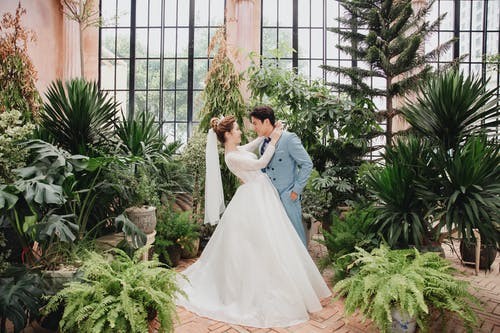 Side view full length romantic newlywed Asian couple wearing classy gowns embracing and looking at each other in lush indoors garden