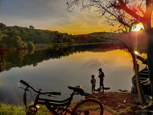 Free stock photo of asian children, beatiful landscape, Bicycle children, Children in riverside