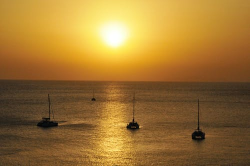 Imagine de stoc gratuită din santorini apus de soare