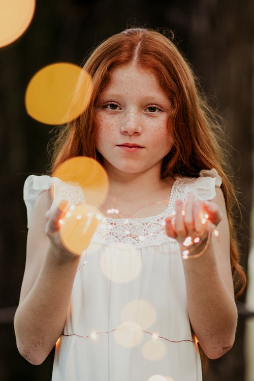 Girl in White Dress With Bokeh Photography