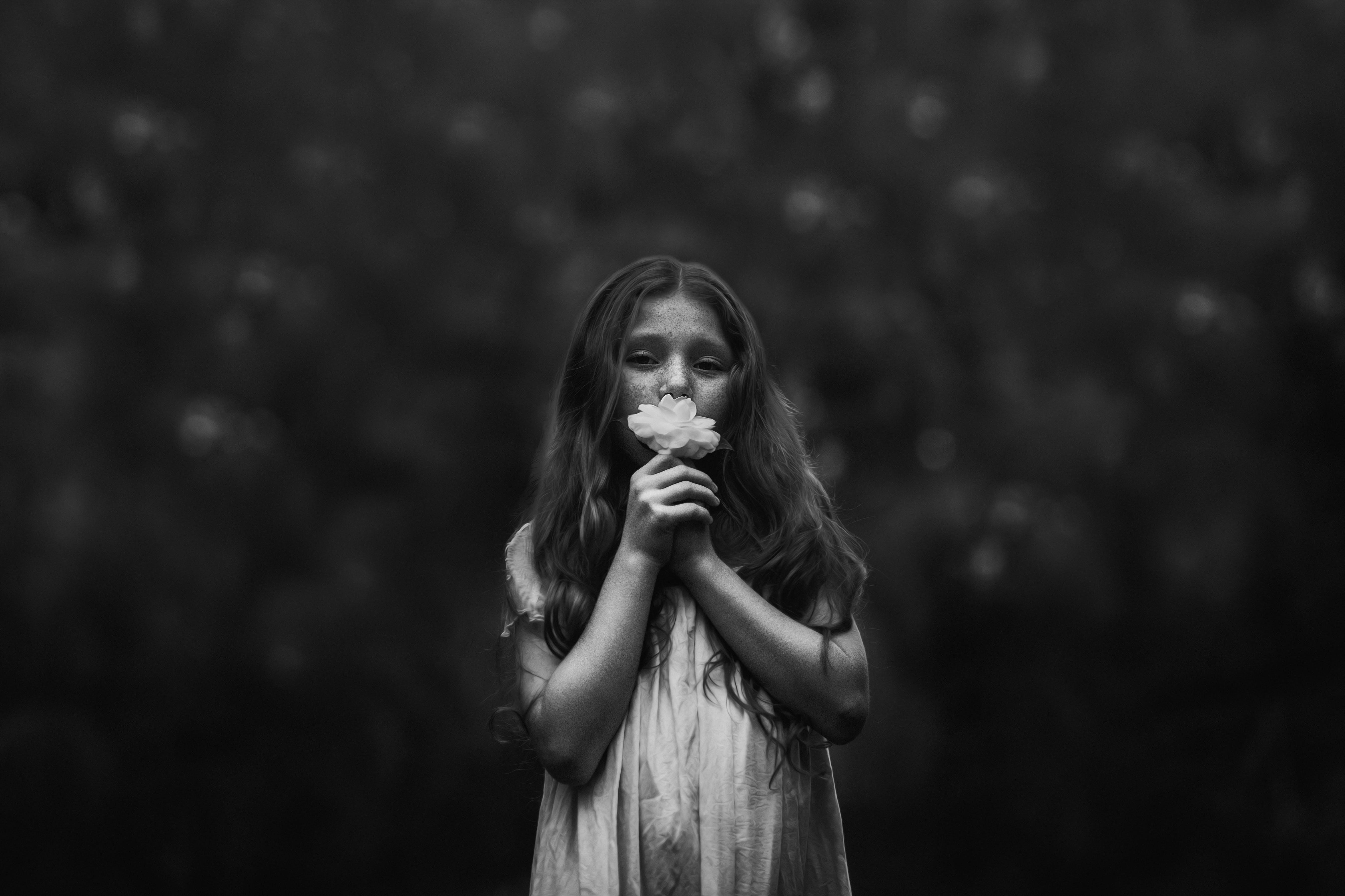 black-and-white, blur, child