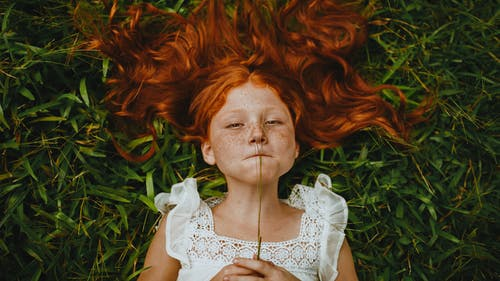 Girl Holding Plant While Lying on Grass