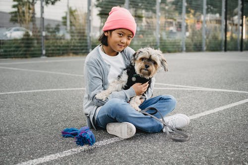 Charming Asian boy with Yorkshire Terrier on sports ground