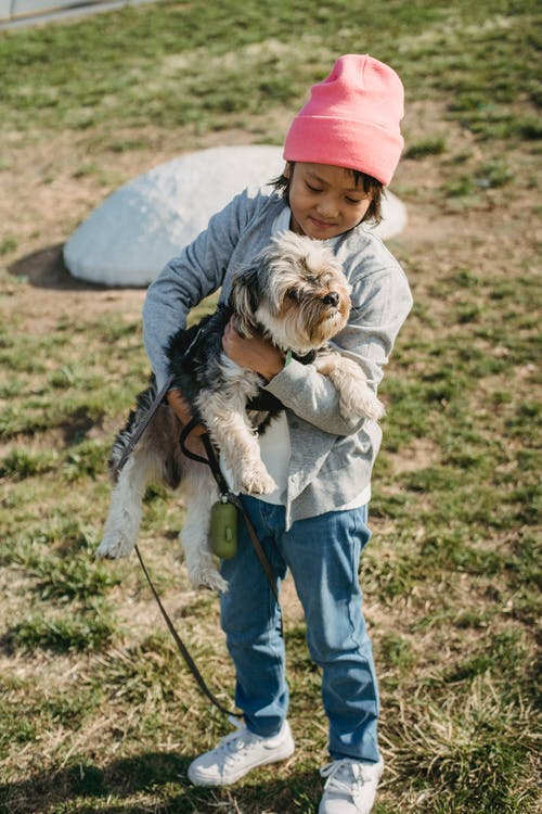Full body of cheerful ethnic child in casual clothes standing on grass and embracing puppy