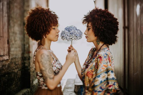 Two Women Facing Each Other Holding White-and-blue Petaled Flower