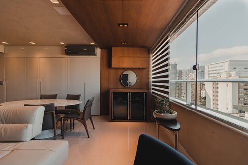 Modern dining room with wide windows