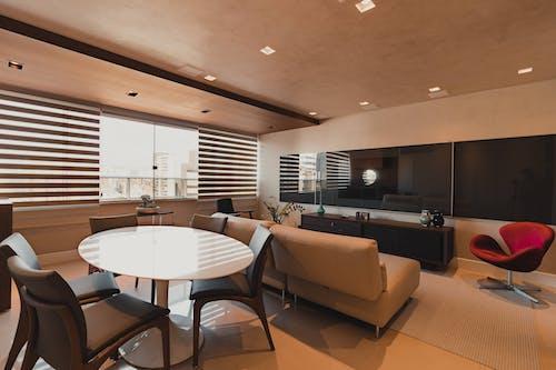 Interior design of stylish studio dining room
