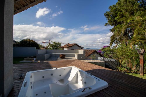 Terrace of tropical villa with bath