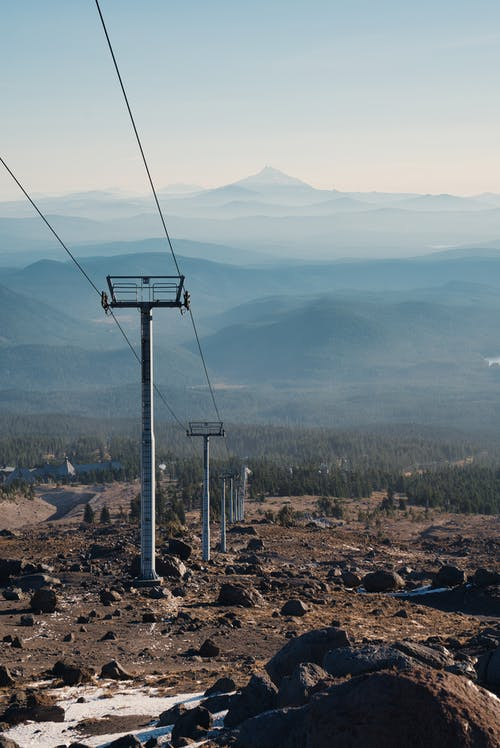 Ski Lift with Mountains in the Background