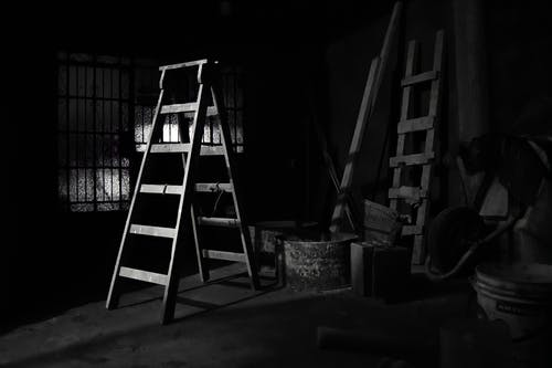 Wooden Ladders in the Storage Room