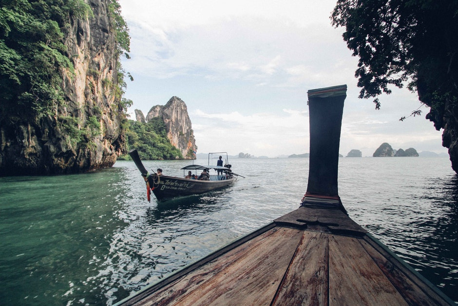 boats, cliffs, environment