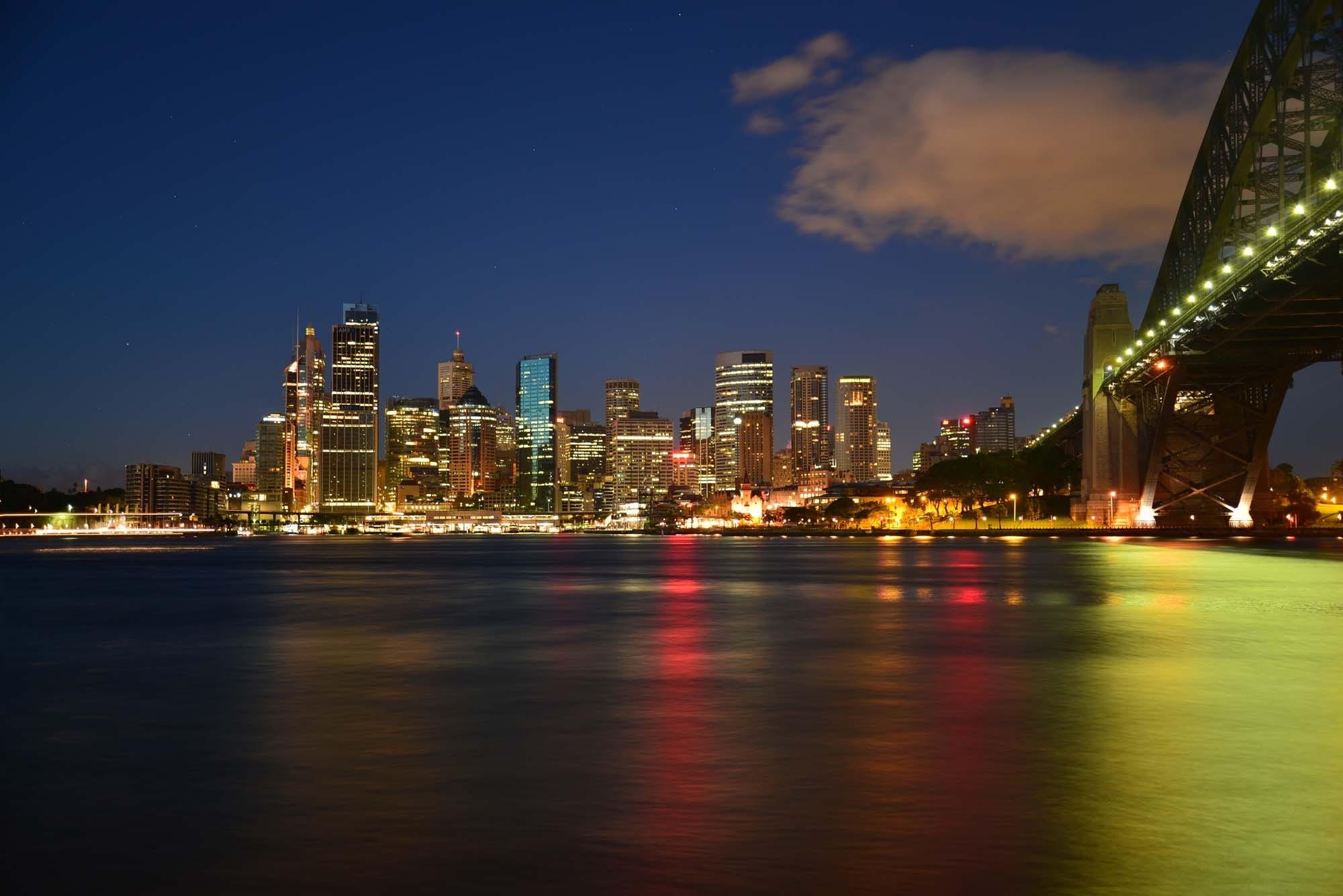 australien, beleuchtung, brücke