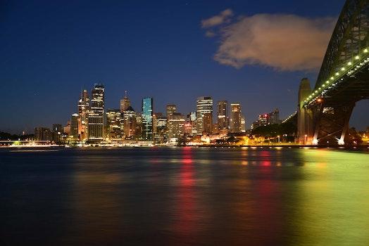 Panoramic Photography of Metropolis Next to Bridge during Night Time