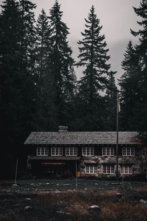 Aged masonry building exterior near road and coniferous trees under cloudy sky in evening