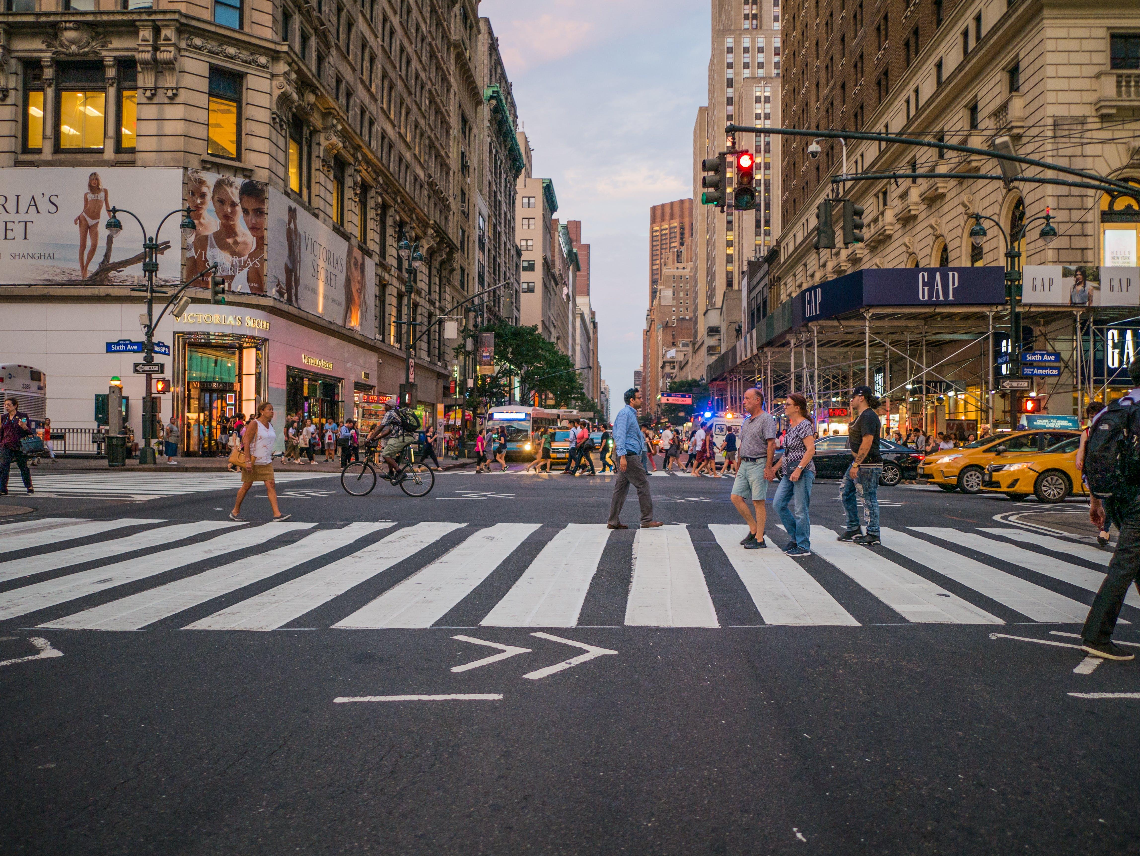 buildings, cars, crossing