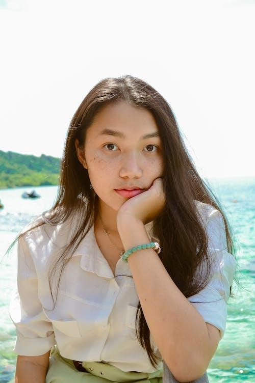 Free stock photo of asian girl, at sea, at the beach