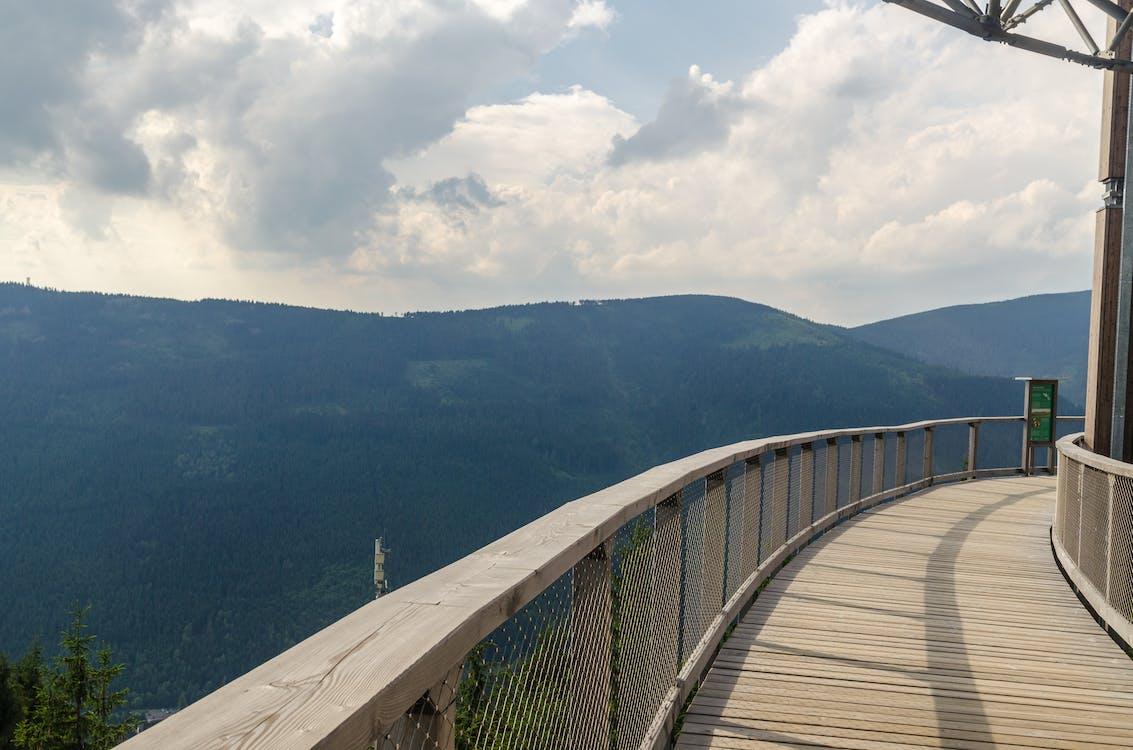 balkon, bäume, berg