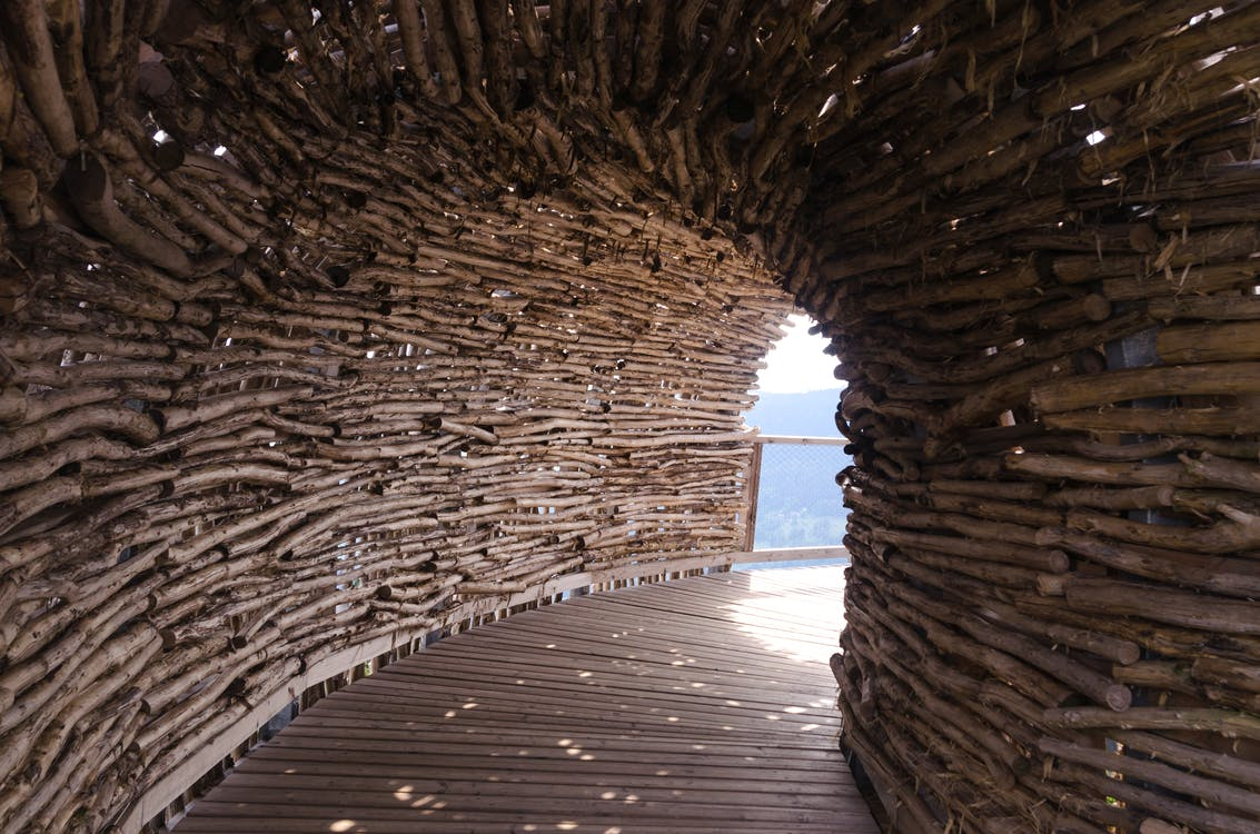 Brown Wooden Tunnel