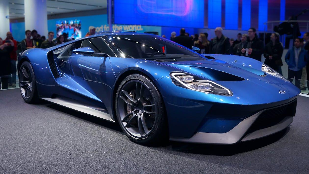 auto show, bil, blå