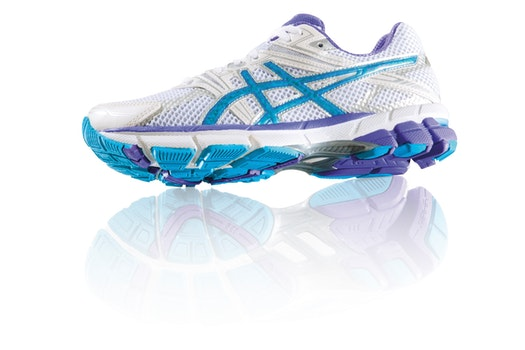 White Blue and Purple Asics Running Shoes