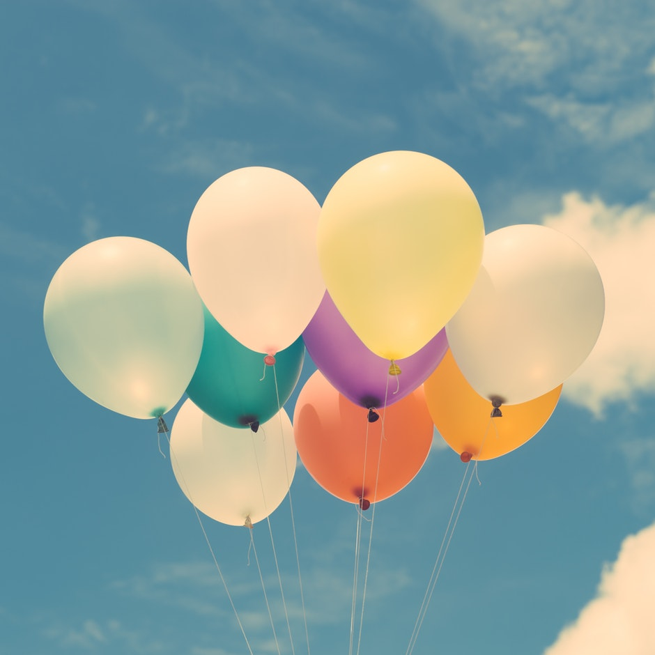 balloons, calm, clouds